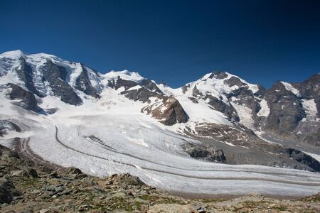 View from the Diavolezza to the mountains and glaciers,Switzerland Stock Photo