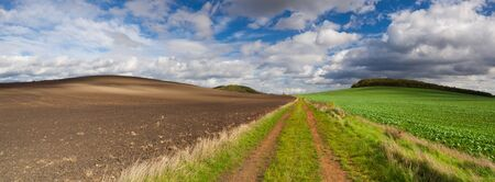 On the empty road in Central Bohemian Highlands, Czech Republic