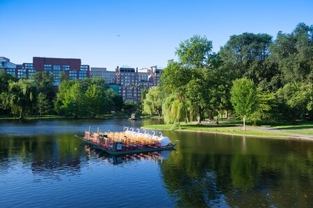 Boston, Massachusetts,USA - July 2,2016: The Public Garden founded 1837.Also known as Boston Public Garden, is a large park located in the heart of Boston, Massachusetts, adjacent to Boston Common.