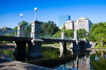 Boston, Massachusetts, USA - July 2,2016: The Public Garden in Boston founded 1837.Also known as Boston Public Garden, is a large park located in the heart of Boston, Massachusetts, adjacent to Boston Common. Editorial