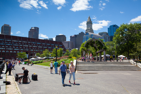 Boston,Massachusetts,USA  - July 2,2016: The North End Parks on the Rose Kennedy Greenway have reconnected Boston. Green space has been created in an area that was formerly an eyesore. Editorial