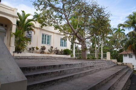 Havana, Cuba - February 2,2017: House Finca Vigia where Ernest Hemingway lived from 1939 to 1960.From the back veranda and the adjacent tower one has an excellent view of downtown Havana.