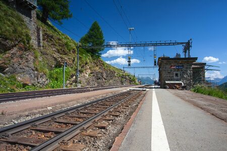 Alp Grum, Switzerland - July 7,2015: Alp Grum railway station is situated on the Bernina Railway, between Pontresina, in the Canton of Graubunden, Switzerland