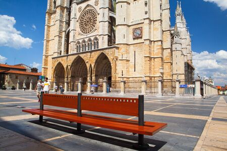 Leon,Spain - July 5, 2017: The cathedral in Leon. The Santa Maria Cathedral of Leon built on the ruins of a Roman bath. A UNESCO World Heritage Site on the Camino de Santiago (Way of St. James), Castilla y Leon, Spain Editorial