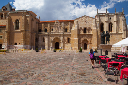 Leon,Spain-July 5, 2017: The Basílica de San Isidoro de Leon. It is located on the site of an ancient Roman temple. Its Christian roots can be traced back to the early 10th century when a monastery for Saint John the Baptist was erected on the grounds Editorial