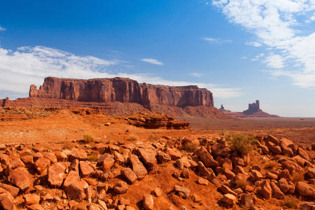 Iconic peaks of rock formations in the Navajo Tribal Park of Monument Valley in Utah, USA 写真素材