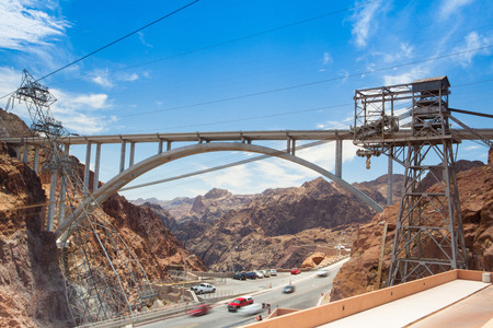 Hoover dam in USA. Hoover Dam is a concrete arch-gravity dam in the Black Canyon of the Colorado River, on the border between the U.S. states of Nevada and Arizona. Archivio Fotografico - 91777328