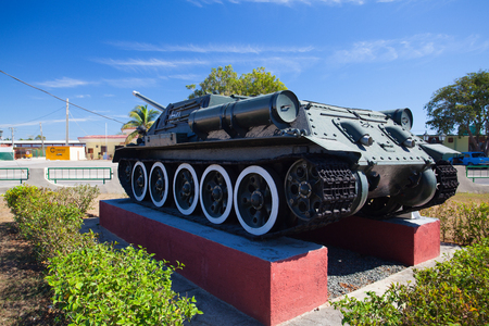 Playa Giron, Cuba - January 27,2017: The Bay of Pigs Museum. Tank and aircraft in front of the museum dedicated to the failed 1961 invasion.