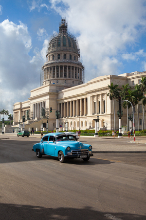 Havana, Cuba - January 22,2017: El Capitolio, or National Capitol Building in Havana, Cuba, was the seat of government in Cuba until after the Cuban Revolution in 1959, and is now home to the Cuban Academy of Sciences. Editorial