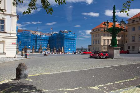 Prague, Czech Republic - June 3,2015: Repair of the facade of the Prague Castle.Prague Castle is the official residence and office of the President of the Czech Republic.