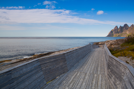 Unique tourist boardwalk on Senja island,Norway