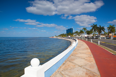 Renovated promenade on the sea shore in Campeche,Mexico. During the colonial period, the city was a rich and important port, but declined after Mexico's independence.