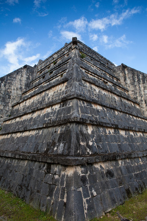 Chichen Itza, Mexico - January 28, 2018: Majestic ruins in Chichen Itza,Mexico.Chichen Itza is a complex of Mayan ruins. A massive step pyramid, known as El Castillo or Temple of Kukulcan, dominates the ancient city. Stock Photo