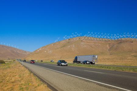 The huge wind farm on the hills in Nevada desert, USA Archivio Fotografico - 96674371