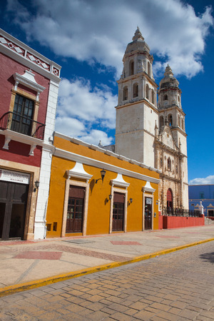 Campeche, Mexico - January 31,2018: The Our Lady of the Immaculate Conception Cathedral.  It is the main Catholic building within the fortified city of Campeche in Mexico