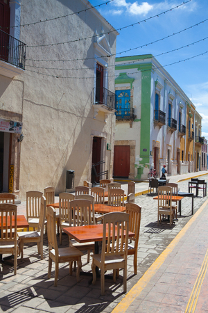 Campeche, Mexico - January 31,2018: Typical colonial street in Campeche, Mexico. Historic Fortified Town of Campeche