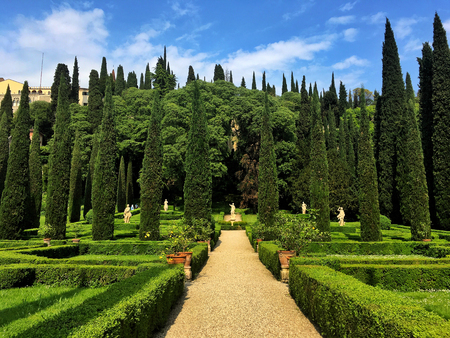 Verona, Italy - 9 May,2018: The Giusti Palace and Garden are located a short distance from Piazza Isolo and near the city centre. The palace was built in the sixteenth century.