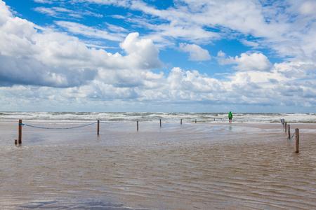 On the amazing Lakolk beach after heavy rain. This beach is  beach after heavy rain, Jutland, Denmark. This beach is favorite for kiteboarding, surfing etc. Stock fotó
