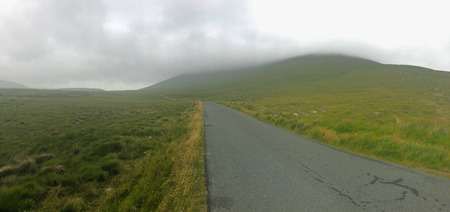 On the misty road. Landscape in Achill Dooega, Ireland