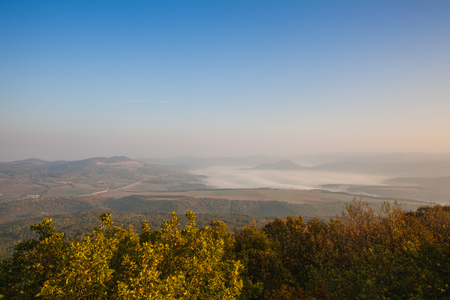 Morning scenery in Central Bohemian Uplands, Czech Republic. Natural monument. View from the top of the mountain.