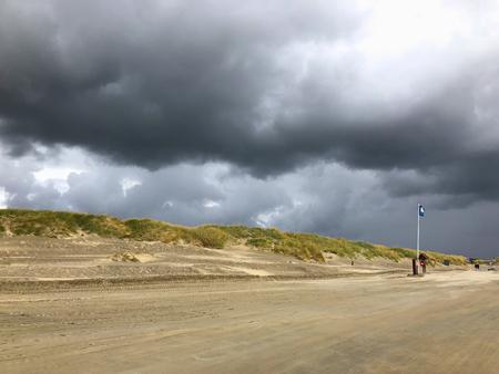 On the amazing Lakolk beach after heavy rain. Jutland, Denmark. This beach is favorite for kiteboarding, surfing etc.