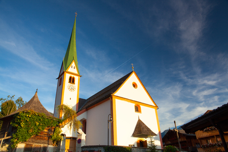 St. Oswald Parish Church in Alpbach,Austria. The church was first mentioned in 1369, a larger one was built in 1420 in honor of St. Oswald, a Northumbrian king.