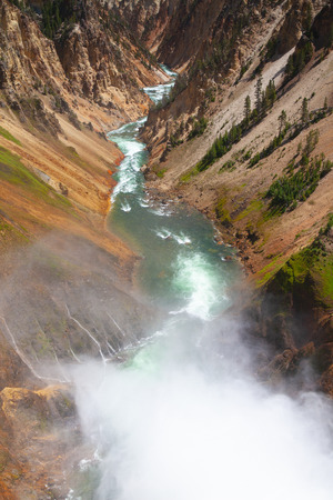 The Lower Falls of the Yellowstone River. The most popular waterfall in Yellowstone National Park, Wyoming, USA 스톡 콘텐츠