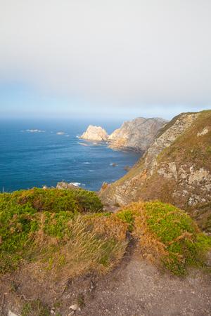 View of danger cliffs in Cabo Penas, Asturias, Spain