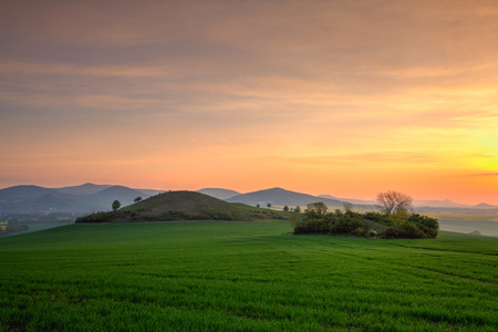 Sunrise in Central Bohemian Highlands, Czech Republic. Central Bohemian Uplands is a mountain range located in northern Bohemia. The range is about 80 km long. HDR Image