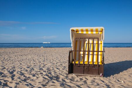 Typical beach chair on the beach in Ahlbeck. Ahlbeck is a district of the Heringsdorf municipality on the island of Usedom on the Baltic coast.