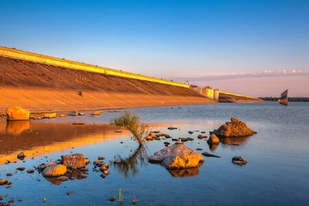 Nechranice Dam in Czech Republic. .Water surface has an extention of 1338 ha. Except of this, it is a dam with longest strewed pier in Central Europe, measuring 3280 m.