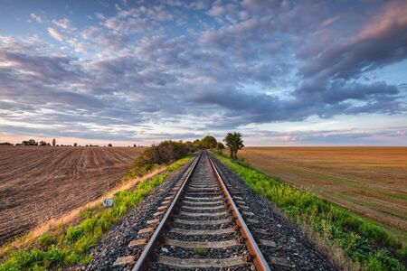 Old Railway tracks running through a field stretch to rural countryside at sunset. Single railway track at sunset, Czech Republic