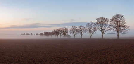 Landscape covered with fog in Central Bohemian Uplands, Czech Republic. Misty morning between fields.