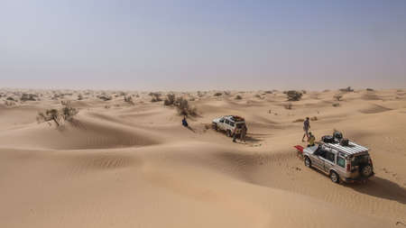 4x4: A 4x4 is recovered using a winch in the Sahara Desert