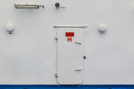 watertight: Ships watertight door from deck into the accommodation. Stock Photo