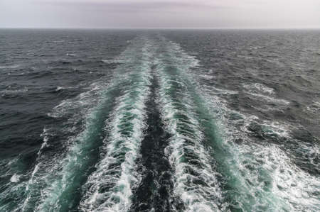 hirtshals: The Wake of a Danish ferry en route to the Faroe Islands and Iceland in rough seas. Stock Photo