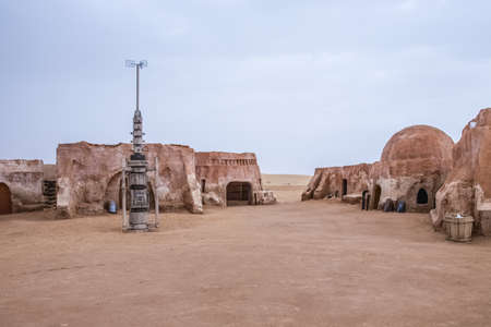 alien landscape: The original film set used in Star Wars as Mos Eisly space port.  Still preserved in Tunisia