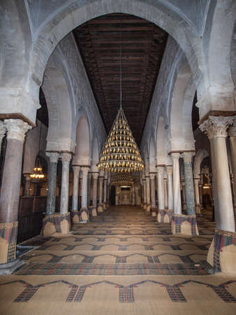 kairouan: A view into the prayer room in the Great Mosque in Kairouan.  A UNESCO world heritage site. Editorial