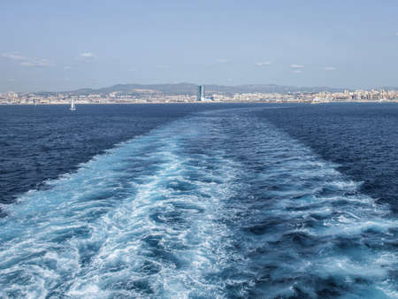 sightseers: View from the stern of a Tunisian ferry leaving Marseilles.
