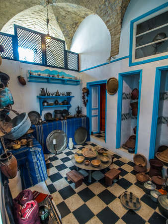 sightseers: Preserved typical Tunisian kitchen in a museum in Kairouan. Portriat view