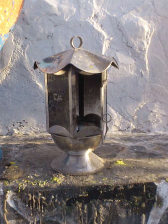 inflammable: Old kerosene lamp at temple in Koh larn Thailand Stock Photo