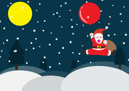 Santa claus hold gift bag, he fly on sky with red balloon and over christmas tree. EPS10 and vector. 스톡 콘텐츠 - 133102933