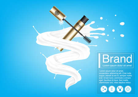 Cosmetic ad concept. Luxury mascara mockup 3D illustration and EPS10 Vector. Use for banner, website, template, leaflet, poster and other design
