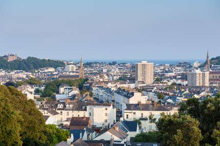 View over Saint Helier, capital of Jersey, Channel Islands, UK on summer evening around sunset Reklamní fotografie