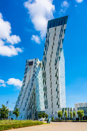 Copenhagen, Denmark - July 19, 2017: AC Bella Sky Marriott Hotel in the Orestad district of Copenhagen, Denmark.