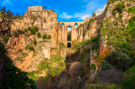 View on village of Ronda, Andalusia, Spain and its Puente Nuevo (New Bridge) built in the 18th century