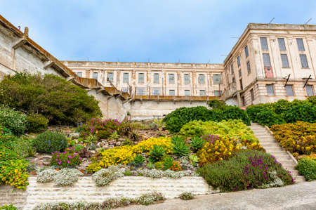 San Francisco, CA, USA - April 5, 2013: Prisoner Gardens on Alcatraz Island in the San Francisco Bay, California, USA. Alcatraz Island houses an abandoned prison and is now a museum.