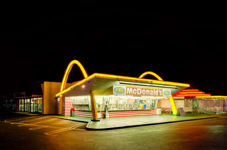 Los Angeles, USA - March 31, 2013: Old McDonald's restaurant in Downey, Los Angeles, California, USA. It was the third McDonald's restaurant and opened on August 18, 1953.
