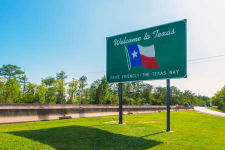 Welcome to Texas Sign in Orange, TX, USA near the state border with Louisiana