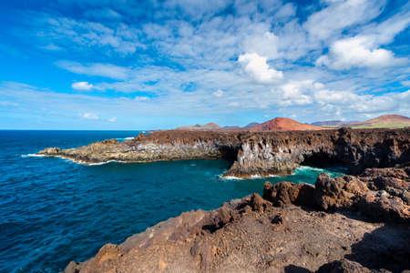 Rocky coastline of Los Hervideros, a local landmark on Lanzarote, Canary Islands, Spain.
